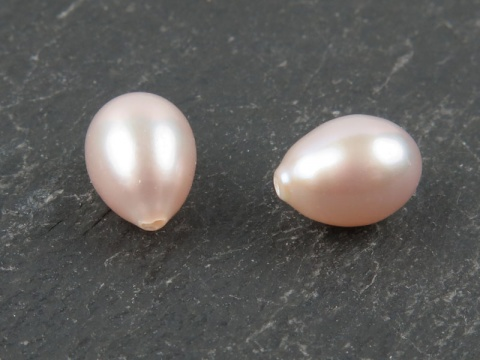 Freshwater Pearl Rose Teardrop ~ Various Sizes ~ Half Drilled ~ PAIR