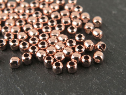 Rose Gold Vermeil Round Bead 2mm ~ Pack of 10