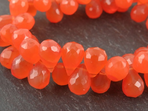 AA Carnelian Faceted Teardrop Briolettes 8-9mm ~ 8'' Strand