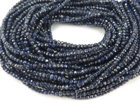 Blue Sapphire Faceted Rondelles 2.25mm ~ 13'' Strand