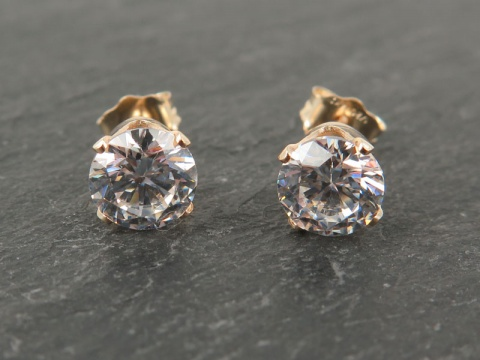 Gold Filled Cubic Zirconia Ear Studs 6mm ~ PAIR