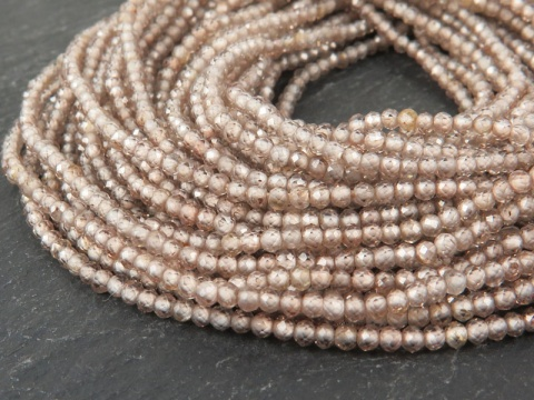 AAA Champagne Zircon Micro Faceted Rondelles 2.25mm ~ 12.5'' Strand
