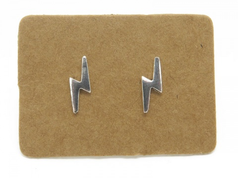 Sterling Silver Lightning Ear Studs ~ PAIR