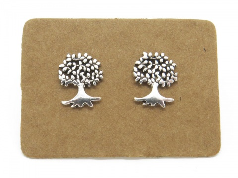 Sterling Silver Tree of Life Ear Studs  ~ PAIR