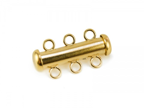 Gold Filled Tube Clasp - 3 Row