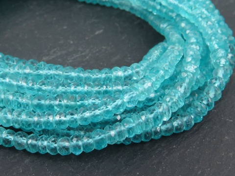 Ocean Blue Apatite Faceted Rondelles 3.5-4mm ~ 13'' Strand