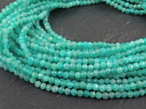 AAA Amazonite Micro-Faceted Rondelles 2.5mm ~ 12.5'' Strand