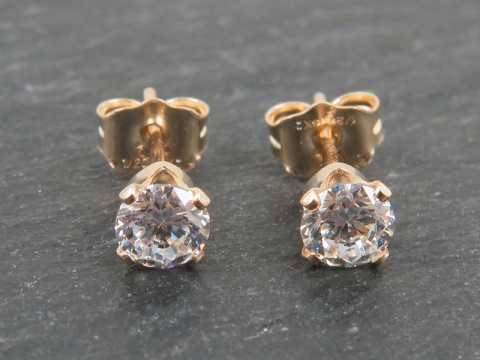 Gold Filled Cubic Zirconia Ear Studs 4mm ~ PAIR