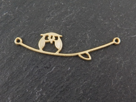 Gold Vermeil Owl on Branch Connector 36mm