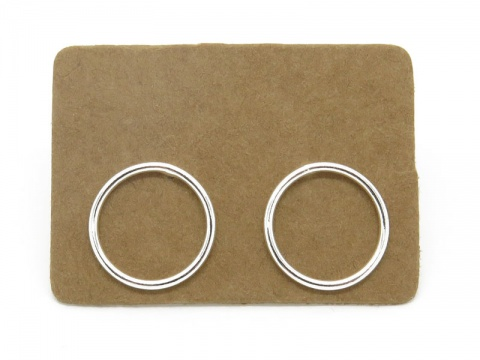 Sterling Silver Open Circle Ear Studs 12mm ~ PAIR