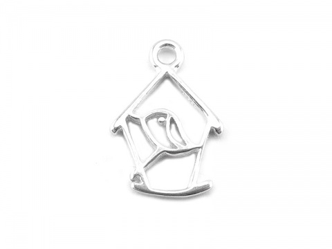 Sterling Silver Bird House Charm 12mm