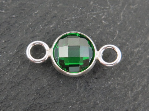 Cubic Zirconia Sterling Silver Connector ~ Green ~ 18mm