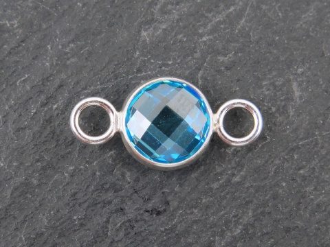 Cubic Zirconia Sterling Silver Connector ~ Swiss Blue ~ 18mm