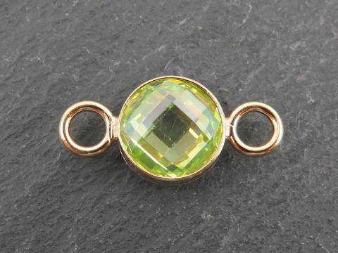 Cubic Zirconia Gold Filled Connector ~ Lime Green ~ 18mm
