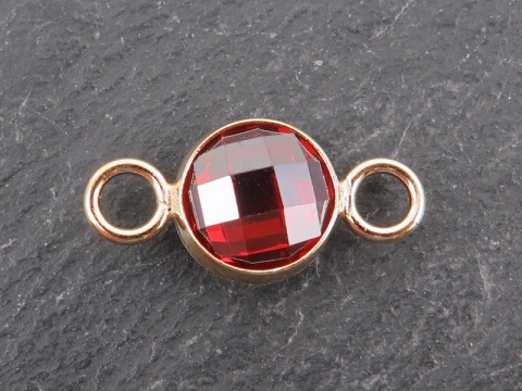 Cubic Zirconia Gold Filled Connector ~ Orange Red ~ 18mm