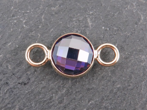 Cubic Zirconia Gold Filled Connector ~ Purple ~ 18mm