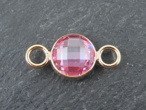 Cubic Zirconia Gold Filled Connector ~ Pink ~ 18mm
