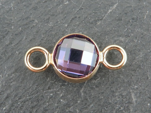 Cubic Zirconia Gold Filled Connector ~ Light Purple ~ 18mm