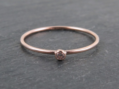 Rose Gold Filled Stacking Ring with CZ ~ Size L