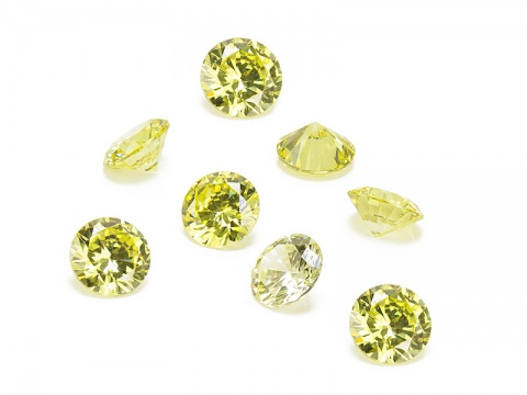 Cubic Zirconia Round ~ Lime Green ~ Various Sizes