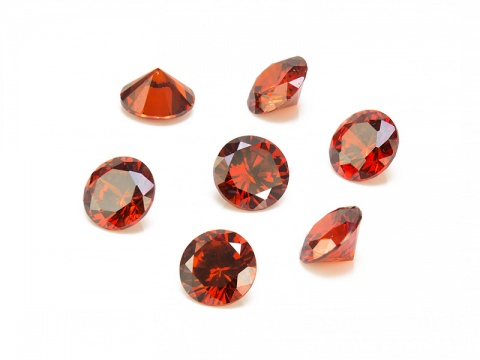 Cubic Zirconia Round ~ Red ~ Various Sizes