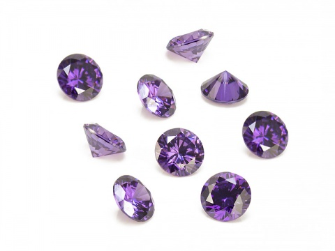 Cubic Zirconia Round ~ Purple ~ Various Sizes