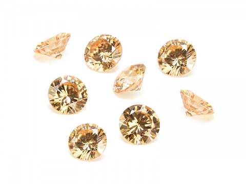 Cubic Zirconia Round ~ Peach ~ Various Sizes