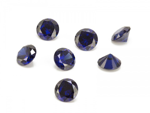 Cubic Zirconia Round ~ Dark Blue ~ Various Sizes