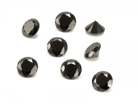 Cubic Zirconia Round ~ Black ~ Various Sizes