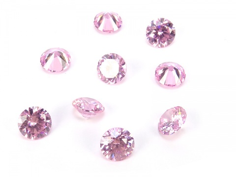 Cubic Zirconia Round ~ Pink ~ Various Sizes