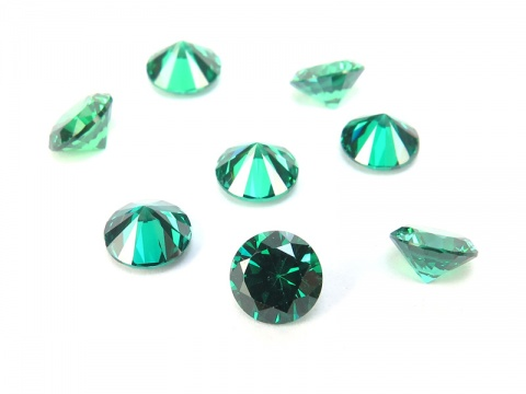 Cubic Zirconia Round ~ Teal ~ Various Sizes