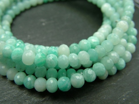 AA Amazonite Micro-Faceted Rondelles ~ Various Sizes ~ 8'' Strand