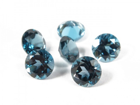 London Blue Topaz Faceted Round ~ Various Sizes