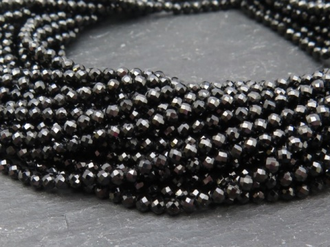 AAA Black Spinel Faceted Rondelles 2mm ~ 12.5'' Strand