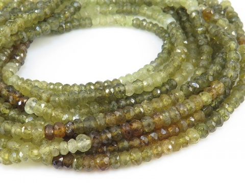 Grossular Garnet Faceted Rondelles 3.5mm ~ 14'' Strand