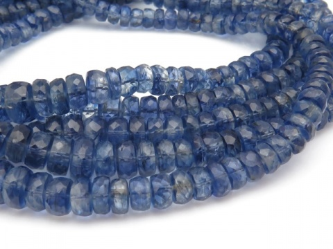 AA Kyanite Micro-Faceted Rondelles 3-5.5mm