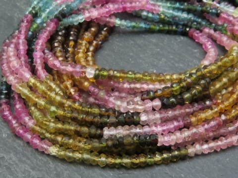 Multi Tourmaline Faceted Rondelles 3.5-4mm ~ 14'' Strand
