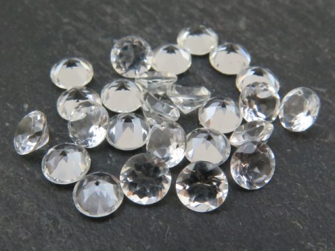 White Topaz Faceted Round ~ Various Sizes