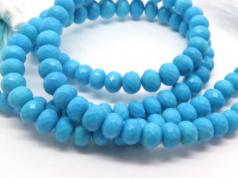 AA Turquoise Micro-Faceted Rondelles 5-6.5mm ~ 8'' Strand