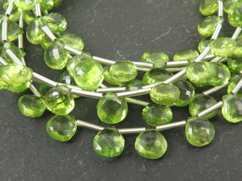 AA+ Peridot Micro Faceted Heart Briolettes 6.25-7.75mm ~ 9'' Strand