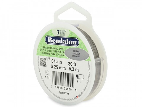 Beadalon 7 Strand Stringing Wire 0.010'' (0.25mm) - Bright - 30 Feet