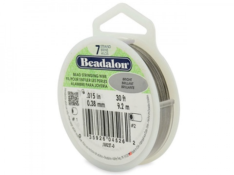 Beadalon 7 Strand Stringing Wire 0.015'' (0.38mm) - Bright - 30 Feet