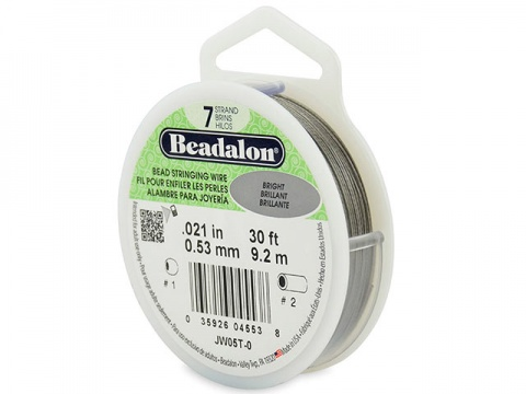Beadalon 7 Strand Stringing Wire 0.021'' (0.53mm) - Bright - 30 Feet