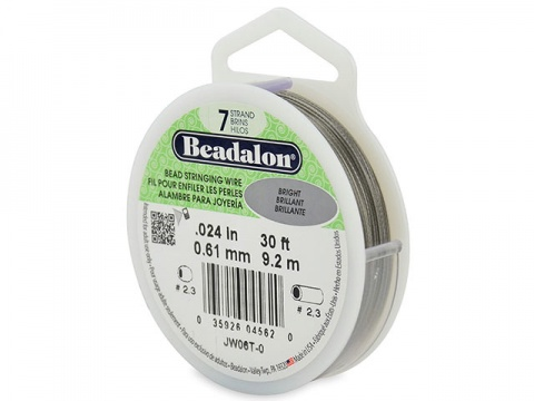 Beadalon 7 Strand Stringing Wire 0.024'' (0.61mm) - Bright - 30 Feet
