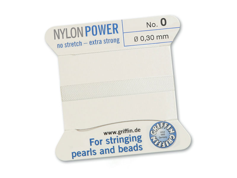 Griffin Nylon Power Beading Thread & Needle ~ Size 0 ~ White