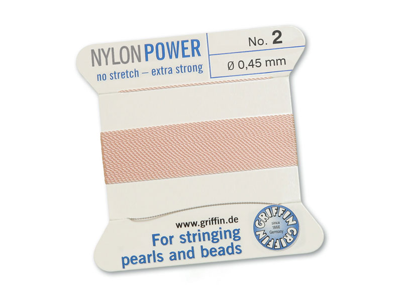 Griffin Nylon Power Beading Thread & Needle ~ Size 2 ~ Light Pink