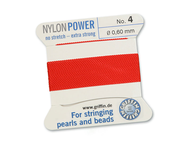 Griffin Nylon Power Beading Thread & Needle ~ Size 4 ~ Red