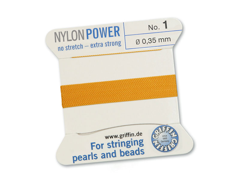 Griffin Nylon Power Beading Thread & Needle ~ Size 1 ~ Amber