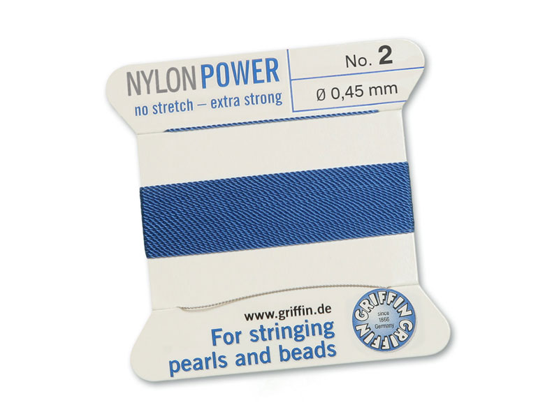 Griffin Nylon Power Beading Thread & Needle ~ Size 2 ~ Blue