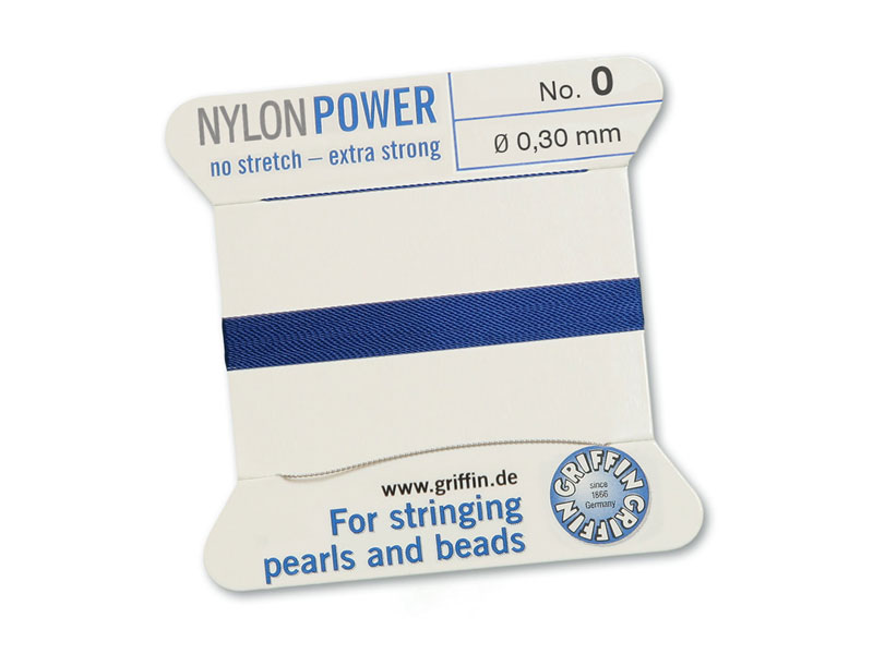 Griffin Nylon Power Beading Thread & Needle ~ Size 0 ~ Dark Blue